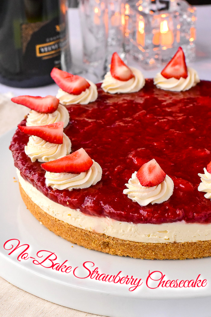 No Bake Strawberry Cheesecake photo of uncut cake with title text added for Pinterest
