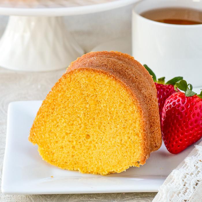 Close up photo of one slice of custard bundt cake