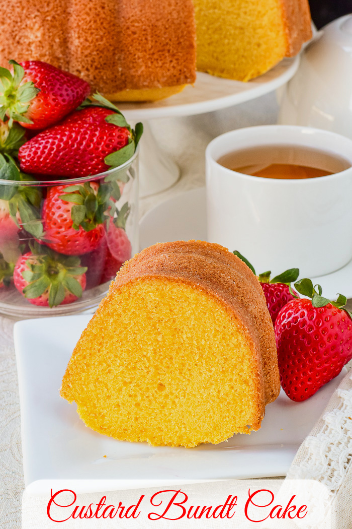 Custard Bundt Cake photo of one slice with title text added for Pinterest