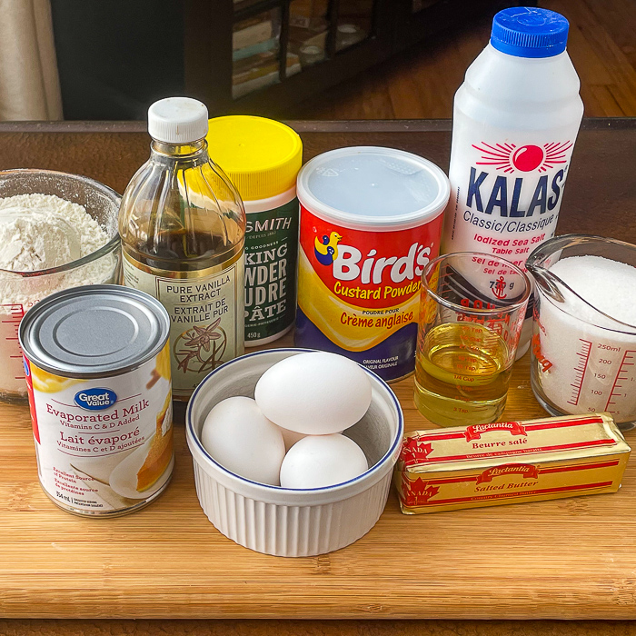 Photo of ingredients needed for the cake including Birds custard powder