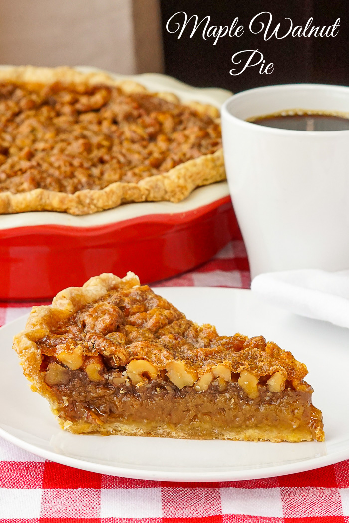Maple Walnut Pie photo of one slice with title text added for Pinterest