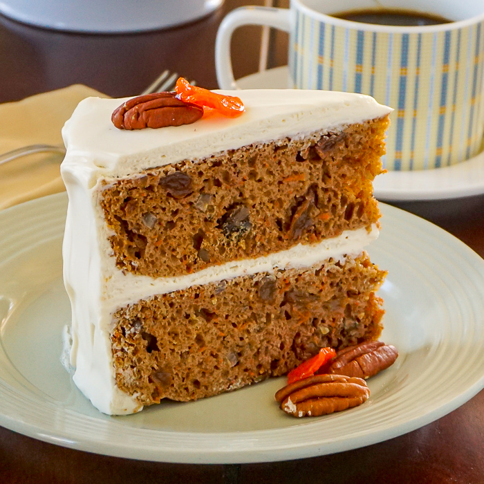 A slice of no added fat carrot cake on a white plate