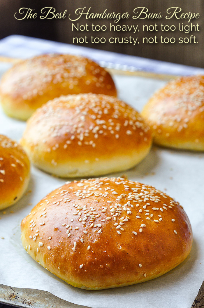 Best Hamburger Buns Recipe photo of buns just out of the oven with title text added for Pinterest