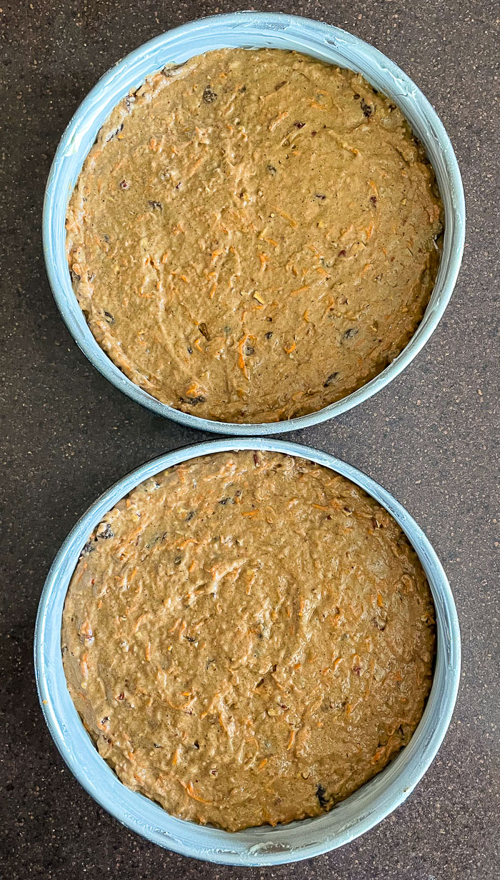 No added fat Carrot Cake ready for the oven