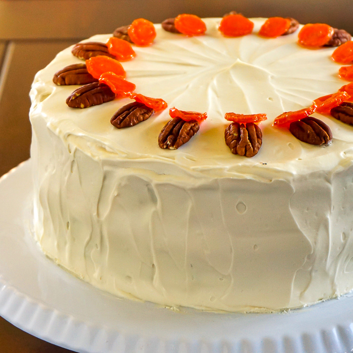 Photo of an uncut no added fat carrot cake