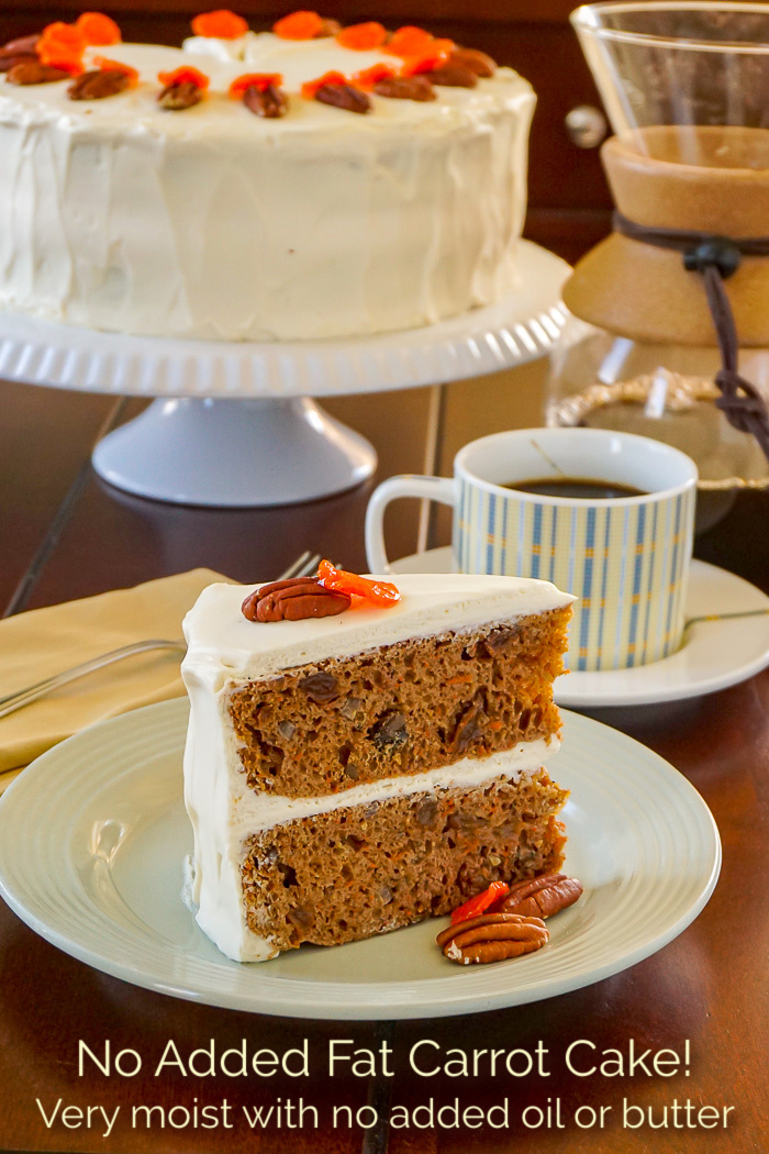 Photo of one slice of No Added Fat Carrot Cake with title text added for Pinterest