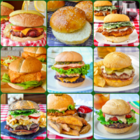 Best Burger recipes square collage of 9 photos for featured image
