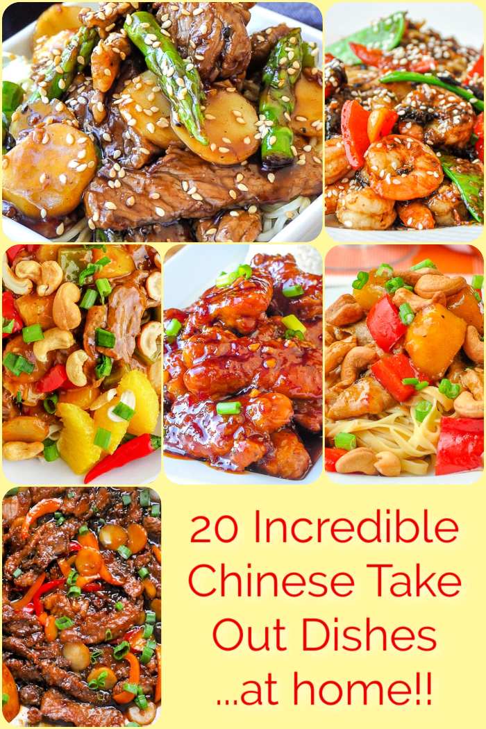 Chineses Take Out Recipes Photo collage with title text added for Pinterest